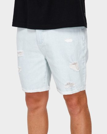 3 RVCA Rockers Cuffed Denim Short White R182317 RVCA