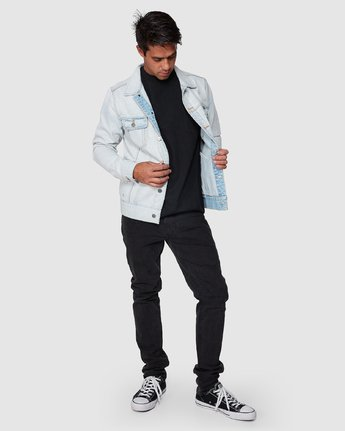 5 RVCA Distressed Denim Jacket White R183446 RVCA