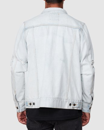3 RVCA DISTRESSED DENIM JACKET White R183446 RVCA