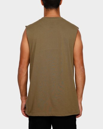 3 RVCA Flipped Muscle Tee Green R191010 RVCA