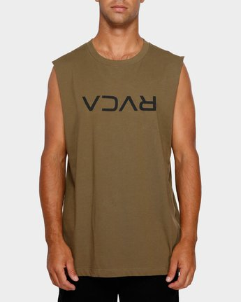 1 RVCA Flipped Muscle Tee Green R191010 RVCA