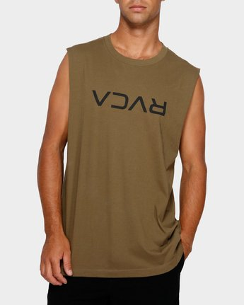 0 RVCA Flipped Muscle Tee Green R191010 RVCA