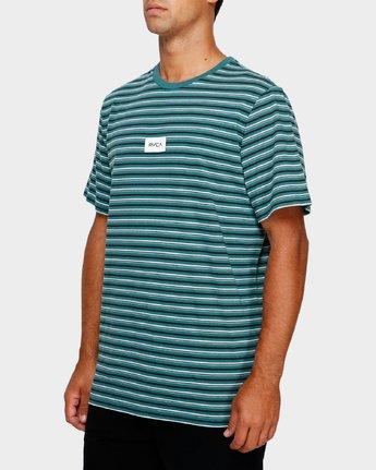 2 RVCA Focus Stripe T-Shirt Green R191049 RVCA