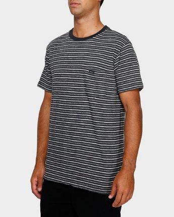 2 Foz Stripe T-Shirt Black R191065 RVCA