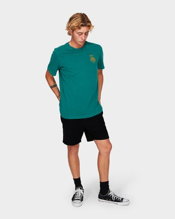 3 Paradise Records Short Sleeve T-Shirt Green R192044 RVCA