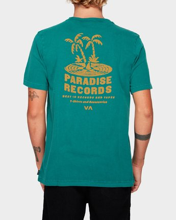 2 Paradise Records Short Sleeve T-Shirt Green R192044 RVCA
