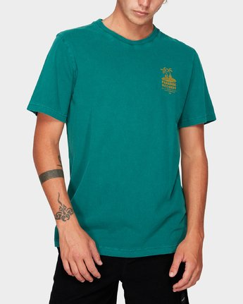 0 Paradise Records Short Sleeve T-Shirt Green R192044 RVCA