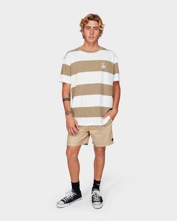 3 Records Stripe Short Sleeve T-Shirt Yellow R192047 RVCA