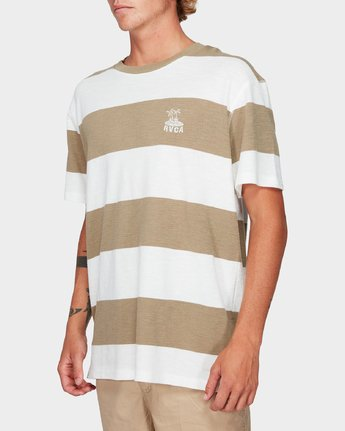 1 Records Stripe Short Sleeve T-Shirt Yellow R192047 RVCA