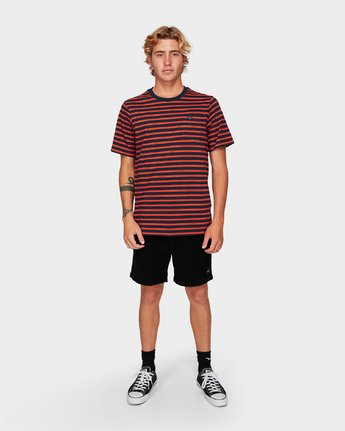 4 Vincent Stripe Short Sleeve T-Shirt Blue R192061 RVCA