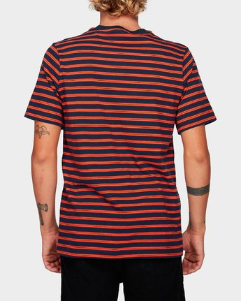 3 Vincent Stripe Short Sleeve T-Shirt Blue R192061 RVCA