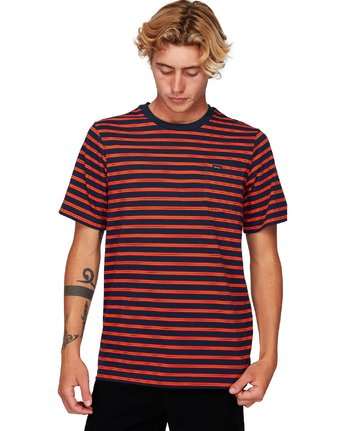 1 Vincent Stripe Short Sleeve T-Shirt Blue R192061 RVCA