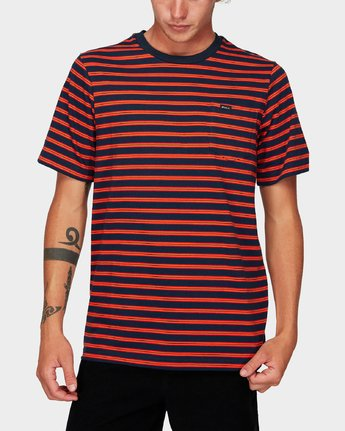 0 Vincent Stripe Short Sleeve T-Shirt Blue R192061 RVCA