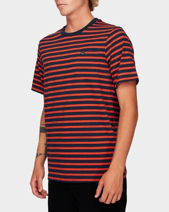 2 Vincent Stripe Short Sleeve T-Shirt Blue R192061 RVCA