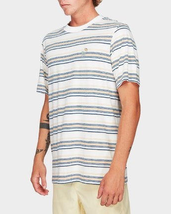 2 Southerly Stripe Short Sleeve T-Shirt White R192062 RVCA
