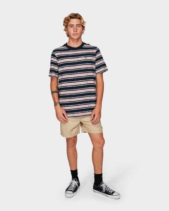 3 Hank Stripe Short Sleeve T-Shirt Blue R192063 RVCA