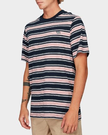 1 Hank Stripe Short Sleeve T-Shirt Blue R192063 RVCA