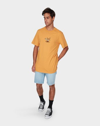 3 Pompei Short Sleeve T-Shirt Yellow R193052 RVCA