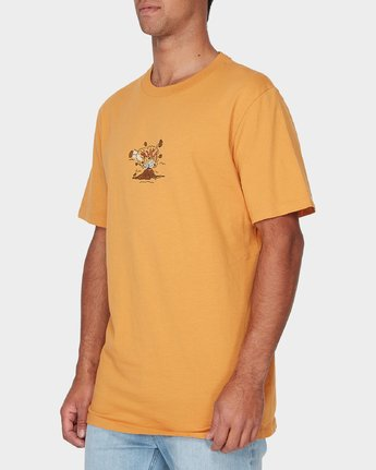 1 Pompei Short Sleeve T-Shirt Yellow R193052 RVCA