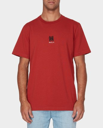 0 RVCA Crest Short Sleeve T-Shirt Red R193055 RVCA