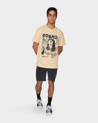 3 Chaotic Short Sleeve T-Shirt Yellow R193062 RVCA