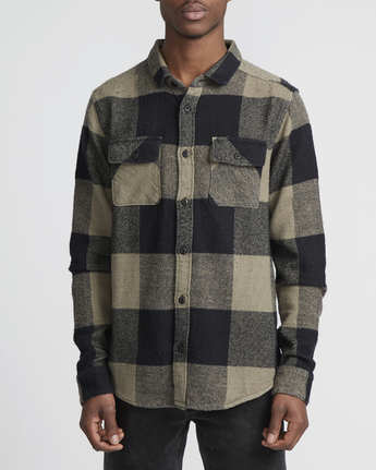 1 Haywire Plaid - Button-Up Flannel Shirt for Men Green R1SHRERVW9 RVCA