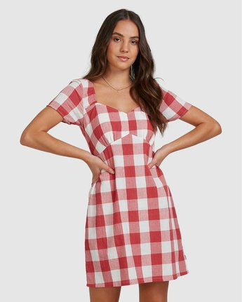 0 Checked Out Dress Green R206769 RVCA
