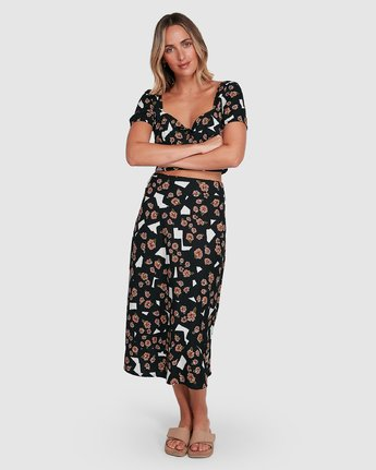 6 Floral Pop Midi Skirt Black R206834 RVCA