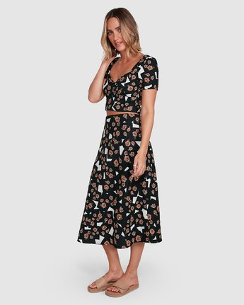 1 Floral Pop Midi Skirt Black R206834 RVCA