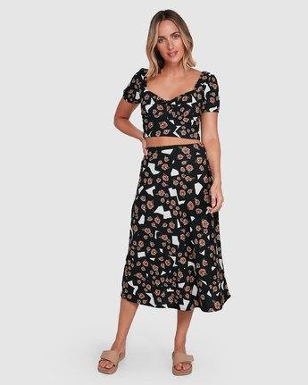 0 Floral Pop Midi Skirt Black R206834 RVCA