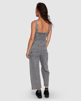 2 Overworked Stripe Overalls Grey R207751 RVCA