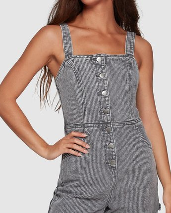 3 Overworked Stripe Overalls Grey R207751 RVCA