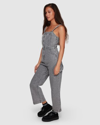 1 Overworked Stripe Overalls Grey R207751 RVCA