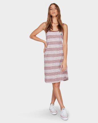 3 Grim Stripe Dress Red R282765 RVCA