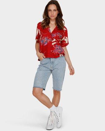 4 Cranes Shorts Sleeve Shirt Red R291182 RVCA