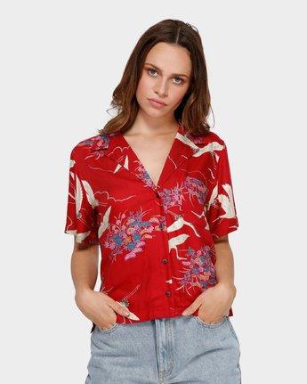 0 Cranes Shorts Sleeve Shirt Red R291182 RVCA