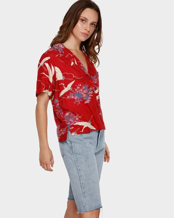 2 Cranes Shorts Sleeve Shirt Red R291182 RVCA