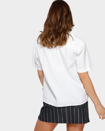 3 Shoutout Short Sleeve Shirt White R291184 RVCA