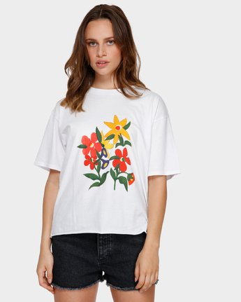1 BOUQUET TEE White R291691 RVCA