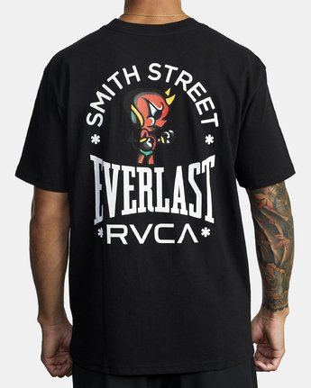 2 EVERLAST X SMITH STREET BIG DEVIL SHORT SLEEVE TEE Black R305060 RVCA