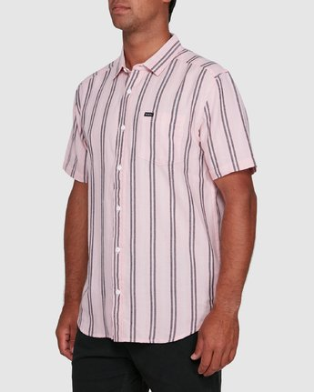 2 DISPLACED STRIPE SHORT SLEEVE TOP Pink R305189 RVCA