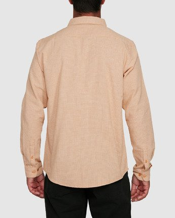 3 CRUSHED CHECK LONG SLEEVE TOP Beige R305195 RVCA