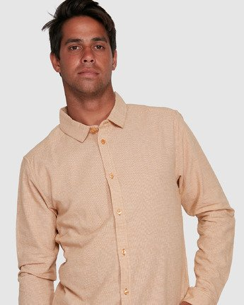 4 CRUSHED CHECK LONG SLEEVE TOP Beige R305195 RVCA
