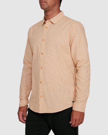 2 CRUSHED CHECK LONG SLEEVE TOP Beige R305195 RVCA