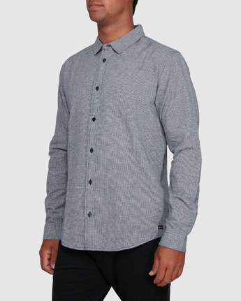2 CRUSHED CHECK LONG SLEEVE TOP Blue R305195 RVCA