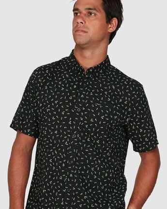 3 Scattered Short Sleeve Shirt Black R306183 RVCA