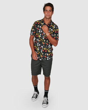 5 Velia Floral Short Sleeve Shirt Blue R306200 RVCA