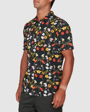 1 Velia Floral Short Sleeve Shirt Blue R306200 RVCA
