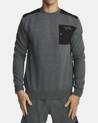 1 Hybrid Crew Fleece Grey R307153 RVCA