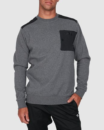 0 Hybrid Crew Fleece Grey R307153 RVCA